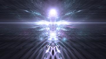 Die Seele, während es mit der äusseren Sicht innerhalb der Dimension der Dschinn sich befindet, bezeugt es mit der inneren Sicht auch die engelhafte Dimension.